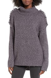 Sun And Shadow Women's Fray Shoulder Turtleneck Sweater