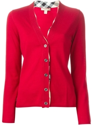 Burberry Brit V Neck Cardigan Red