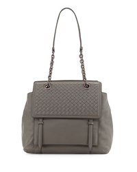 Bottega Veneta Intrecciato Large Flap Satchel Bag Light Gray Size L Light Grey