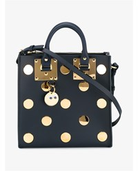 Sophie Hulme Square Albion Polka Dot Leather Tote Navy