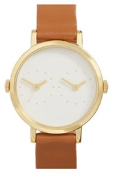 Steven Alan Women's 'Time Traveler' Round Leather Strap Watch 30Mm Brown White