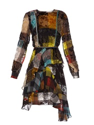 Preen Janice Floral Devore Checked Silk Dress