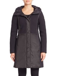 Post Card Hazel Herringbone Down Coat Nero