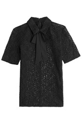 The Kooples Lace Blouse With Grosgrain Bow Black