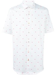 Paul Smith Lip Print Short Sleeve Shirt White