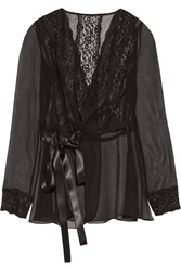 Dolce And Gabbana Lace Trimmed Silk Blend Chiffon Wrap Top