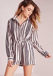 Missguided Stripe Print Long Sleeve Shirt Playsuit Cream Cream
