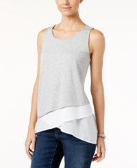 Inc International Concepts Asymmetrical Layered Look Tank Top Only At Macy's Heather Grey
