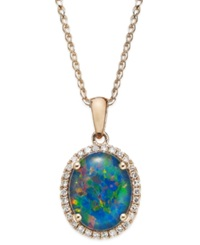 Macy's Opal Triplet 2 1 2 Ct. T.W. And Diamond 1 8 Ct. T.W. Pendant Necklace In 14K Rose Gold Blue