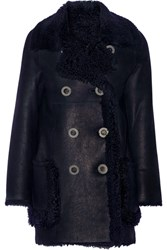 Karl Donoghue Double Breasted Shearling Coat Midnight Blue