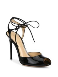 Gianvito Rossi Patent Leather Peep Toe Lace Up Sandals Black