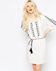 B.Young Folk Print Boho Dress Off White