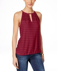 Inc International Concepts Illusion Striped Halter Top Only At Macy's Glazed Berry