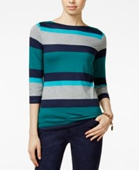 Tommy Hilfiger Renee Striped Boat Neck Top Everglade Print