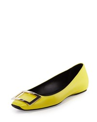Roger Vivier Tropette Leather Buckle Flat Smile Yellow Size 37.0B 7.0B Smile Yellow
