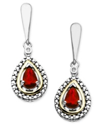 Macy's 14K Gold And Sterling Silver Earrings Garnet 1 Ct. T.W. And Diamond Accent Teardrop Earrings