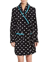 Honeydew Intimates Cuddle Up Polka Dot Plush Robe Black