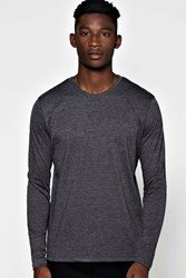 Boohoo Long Sleeve Crew Neck T Shirt Charcoal