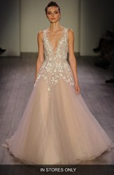 Women's Hayley Paige 'Leah' Floral Sequin V Neck Tulle Ballgown In Stores Only