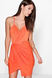 Boohoo Slinky Wrap Tie Detail Bodycon Dress Orange
