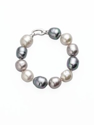 Majorica 14Mm Multicolor Baroque Pearl And Sterling Silver Strand Bracelet
