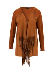 Morgan Laced And Tasselled Waterfall Cardigan Brown