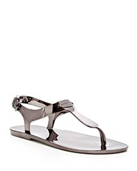 Michael Michael Kors Metallic Jelly Flat Thong Sandals Gunmetal