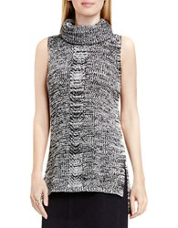 Vince Camuto Sleeveless Cable Stitch Sweater Marled Black