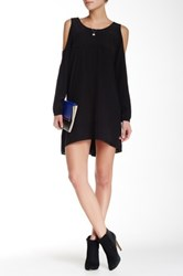 Madison Marcus Open Shoulder Silk Dress Black