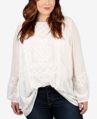 Lucky Brand Trendy Plus Size Sheer Embrodiered Peasant Top White