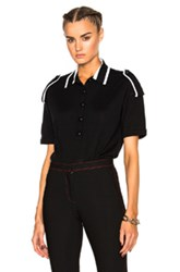 Burberry Prorsum Merino Epaulette Polo In Black