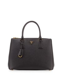 Saffiano City Calf Double Zip Tote Bag Black Nero