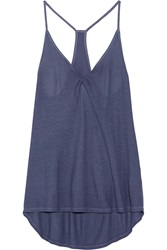 Enza Costa Ribbed Jersey Tank Blue