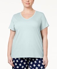 Hue Plus Size V Neck Sleep T Shirt Eggshell Blue