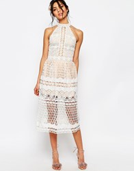 Jarlo Tall High Neck Allover Cutwork Lace Prom Skater Midi Dress White
