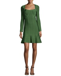Herve Leger Long Sleeve Flounce Bandage Dress Forest Green