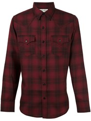Saint Laurent Plaid Casual Shirt Red