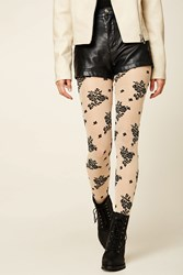 Forever 21 Sheer Floral Tights Nude Black