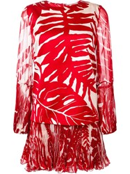 Ermanno Scervino Drop Waist Palm Print Dress Red
