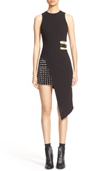 Anthony Vaccarello Sleeveless Side Cutout Sheath With Grommet Pleated Panel Black