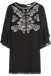 Matthew Williamson Diffusion Embellished Silk Georgette Dress Black