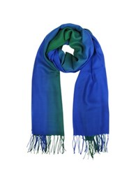 Mila Schon Cashmere And Wool Fringed Stole Blue Green
