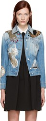 Alexander Mcqueen Blue Embellished Denim Jacket