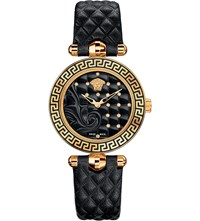 Versace Vqm10016 Micro Vanitas Gold Plated Ceramic And Leather Watch Sapphire