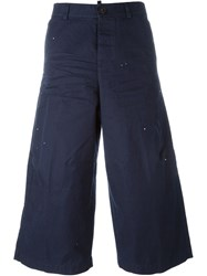 Dsquared2 Cropped Wide Leg Trousers Blue