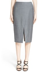 Women's Nordstrom Signature And Caroline Issa 'Selma' Double Slit Wool Pencil Skirt