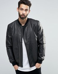 Only And Sons Faux Leather Bomber With Asymmetrical Zip Black