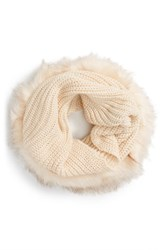 Women's Evelyn K Faux Fur Trim Infinity Scarf Ivory Cream