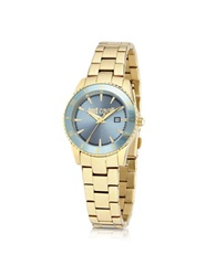 Just Cavalli Just In Time Gold Tone Stainless Steel Women's Watches W Blue Dial