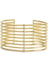 Elizabeth And James Jean Gold Tone Crystal Cuff Metallic